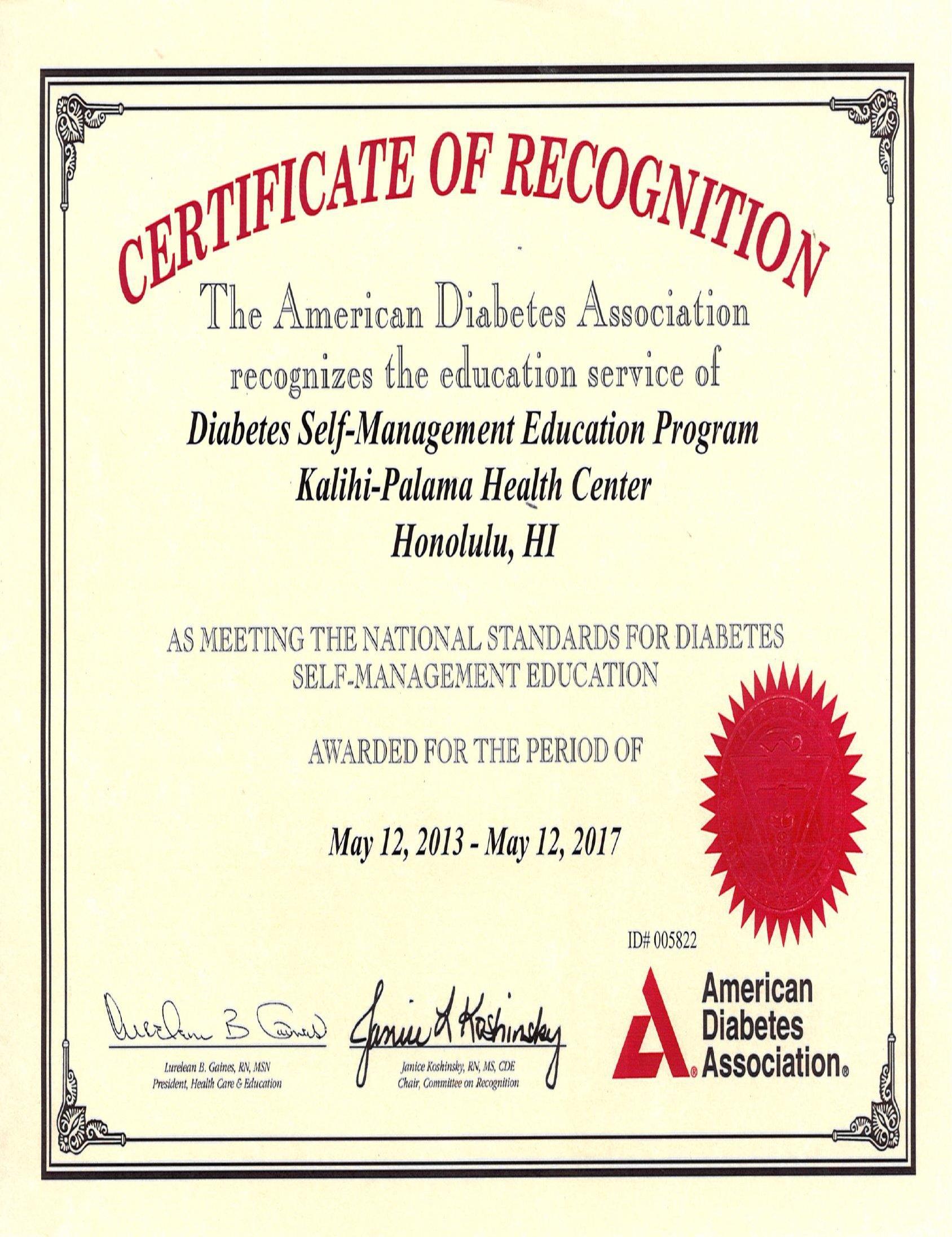 Recognitions Kalihi Palama Health Center